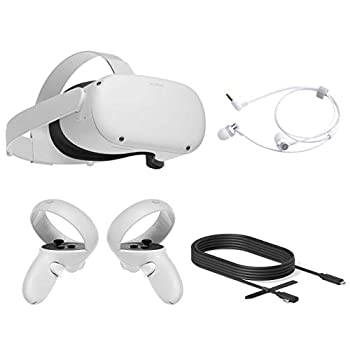 2020 Oculus Quest 2 All-In-One PC VR Headset 64GB Christmas Holiday Family Bundle Advanced Vitual Reality Gaming Headset 10FT Mytrix Link Cable for PC VR Earphones Bundle