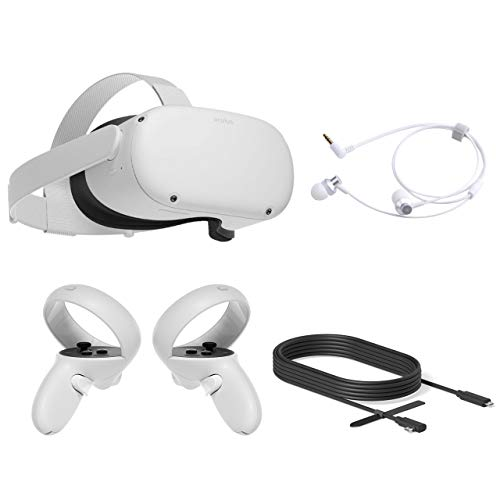 2020 Oculus Quest 2 All-In-One PC VR Headset 64GB Christmas Holiday Family Bundle, Advanced Vitual Reality Gaming Headset, 10FT Mytrix Link Cable for PC VR, Earphones Bundle
