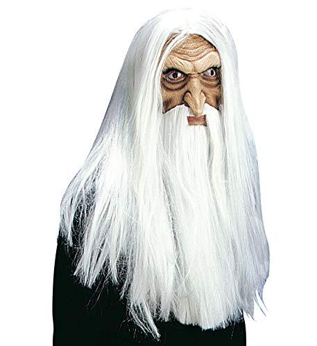 shoperama Máscara de látex mágica con pelo largo, peluca Maxibart y Schnäuzer Gandalf Merlin Magier