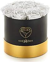 Amoroses 12 Rose Stabilizzate Vere durano Anni - Idea Regalo per Lei Originale Elegante Bouquet per Compleanno, Laurea e...