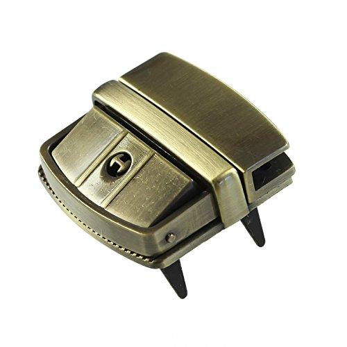Metall Mappenschloss Steckschloss 43x42mm inkl. Schlüssel, freie Farbwahl, Farbe:altmessing
