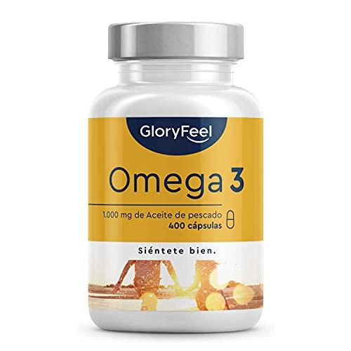 Omega 3 Aceite de Pescado - 400 Cápsulas de Alta Potencia (Suministro para 14 meses) - 1000mg por Cápsula - Con ácidos grasos Omega 3 EPA y DHA