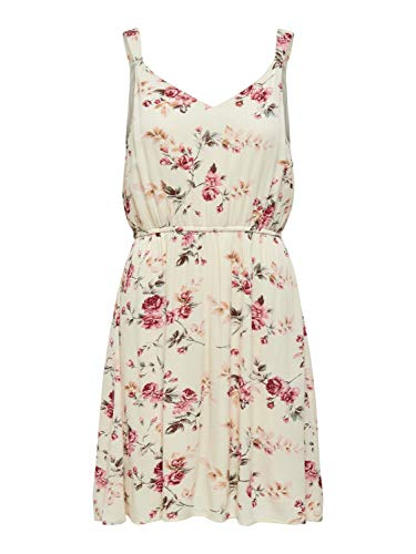 ONLY Damen Sommerkleid Blumen-Print - Urlaubskleid - Onlkarmen S/L Short Dress, Farbe:Beige, Größe:36