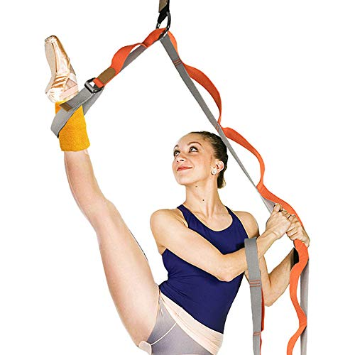 Yesloo Yoga Gurt, Gymnastik Gurt Baumwolle mit 14 Schlaufen, Yogagurt 300 x 3,8 cm, Fitness Pilates Physiotherapie Multi Loop Stretch-Gurt, Orange