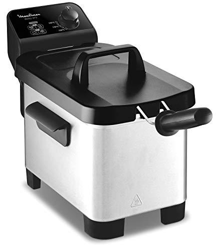 Moulinmex Freidora Easy Pro de 3 L con tapa de plástico de , Totalmente desmontable y apta para el lavavajillas, Ajustes de temperatura de 150 °C a 190 °C - Tecnología Zona Fría (Reacondicinado)