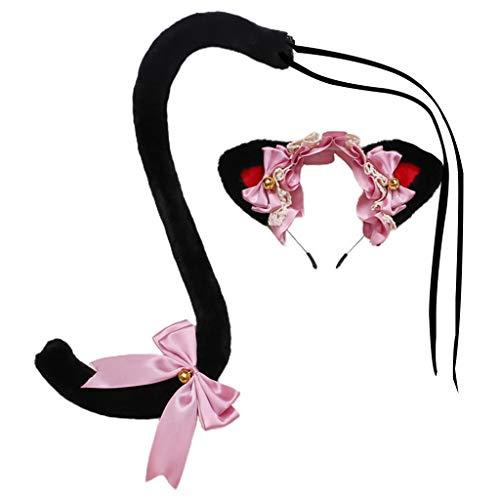 Myya japonés Kawaii Ruffle Lace Cat Ears Bowknot Headband Fur Bell Set Mujeres Lolita Animal Cosplay Disfraz