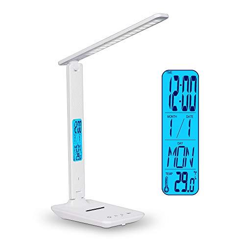 Wanjiaone Schreibtischlampe LED, Dimmbare Tischlampe mit Ladeanschluss, schreibtischlampe kinder 3 Farb-und 5 Helligkeitsstufen, Tischleuchte mit Telefonhalter für Heim und Büro