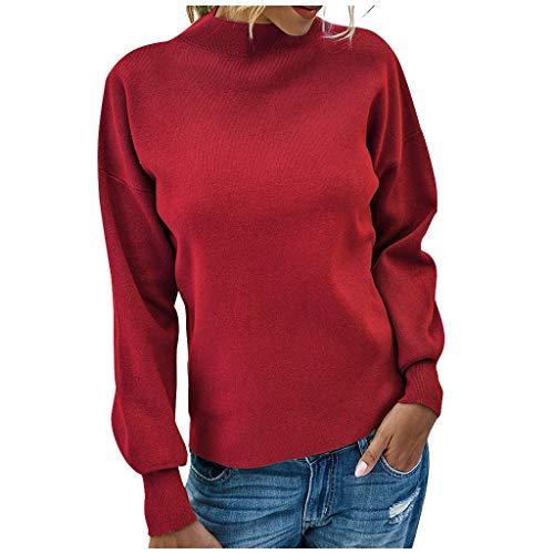 SHUANGA 2020 Neue Damenmode Einfarbig High Collar Long Sleeves Sockel Sweater Tops Damen Pullover, Damen Oberteile Sweater Strickpullover mit Fledermausärmel warm Farbblock