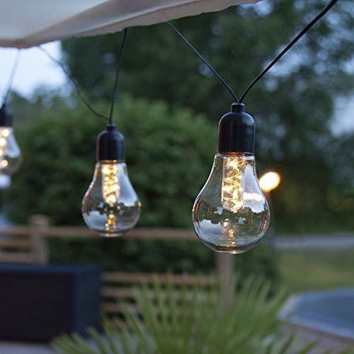 Led-lichtsnoer met gloeilampen, transparant, 10-delig, werkt op batterijen, retro vintage slinger, voor buiten, tuinfeest, balkon, terras, sfeerlicht, draadloos, accu