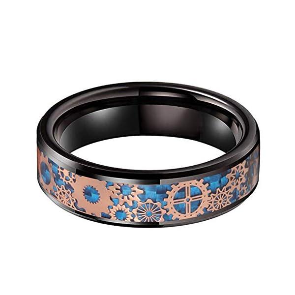 iTungsten 6mm 8mm Silver/Black Tungsten Rings for Men Women Steampunk Gear Wheel Blue/Purple Carbon Fiber Inlay Beveled… 4