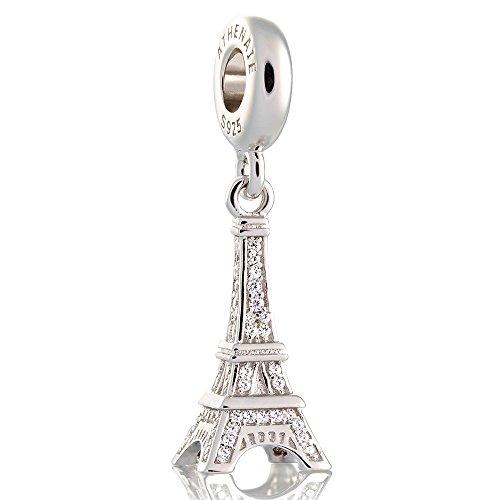 ATHENAIE 925 zilver verguld platina met pleister vrije CZ-Eiffeltoren hanger druppels past alle Europese armband-halsketting