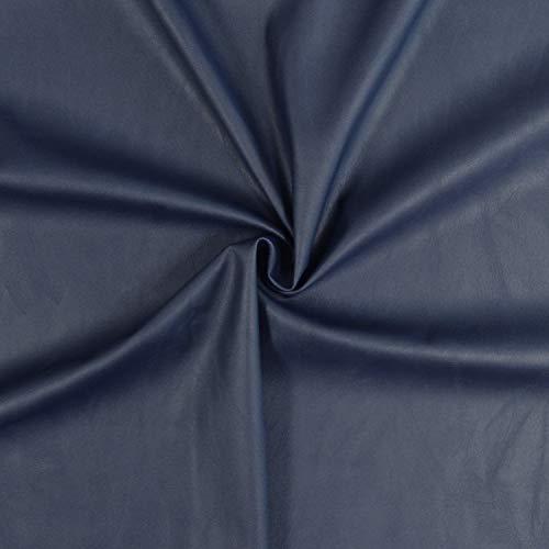 Tejido de imitación de cuero de muy bella calidad, flexible y elástico (Ropa, accesorios y decoración) - Tejido de imitación de cuero - Tejido skai (Pieza de 1m x 1m36) (Azul marino)