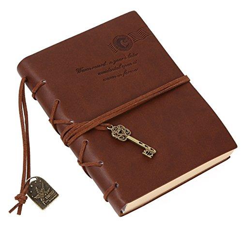 Kingdommax, diario, taccuino, quaderno a foglio mobili con copertina in pelle, stile vintage, pagine bianche e ciondolo a forma di chiave, idea regalo Brown