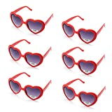 Onnea 6 Pares Gafas de Sol Fiesta Forma de Corazón Neon Colores Paquete (Rojos 6-Pack)