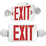 【2 Pack】 UL Certified EXIT Sign with Emergency Light Red EXIT Compact Combo Hardwired High Output