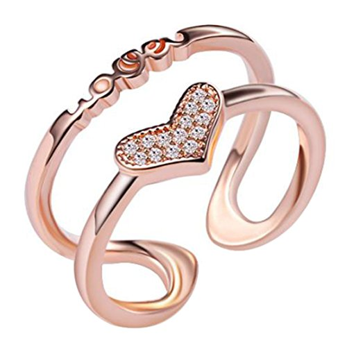Freedi Women Open Rings Adjustable Diamond Love Heart Wedding Engagement Rings Fashion Jewelry Gift Girls