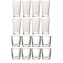 Circleware Set of Highball Tumbler Drinking Glasses and Whiskey, Entertainment Heavy Base Ice Tea Beverage Cups for Water, Beer, Juice, 8-15.7 oz & 8-12.5 oz, Hoops Design