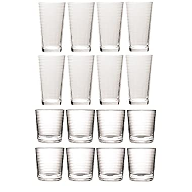 Circleware Theory Huge Set of 16 Drinking Glasses, 8-17oz. and 8-13oz. Double Old Fashioned Whiskey Glass, Clear, Lead-Free Glass Drink Cups