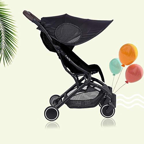 ZY123 Black Sun Shade Hood Cover, Kinderwagen Anti-UV Markise Windschutzscheibe Shade, Umbrella Hood Buggy Sunshade Wasserdicht (Stretch Stoff + Stahlstange)