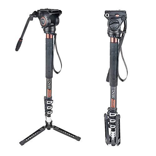 """Cayer CF34DVH4 Professionelles Video-Einbeinstativ 71\""""Carbonfaser-Einbeinstativ mit Schwenk-Neige-Fluidkopf und 3-Bein-Stativfuß für DSLR-Videokameras-Camcorder sowie 1 zusätzliche Gleitplatte"""