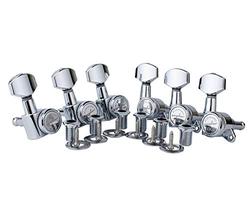 Guyker Guitar Locking Tuners (6 for Right) - 1:18 Lock String Tuning Key Pegs Machine Head with Hexagonal Handle Replacement for ST TL SG LP Style Electric, Folk or Acoustic Guitars - Chrome