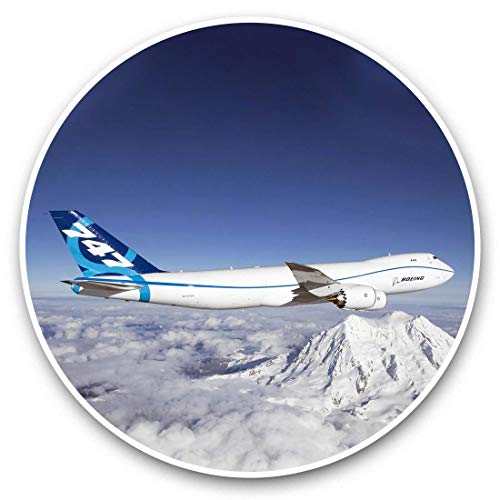 Awesome Vinyl Stickers (Set of 2) 20cm - Boeing 747 Mountains Ski Holiday Fun Decals for Laptops,Tablets,Luggage,Scrap Booking,Fridges,Cool Gift #44414
