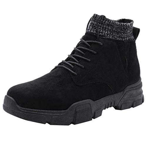 HAALIFE ◕‿Men Casual high top Sneakers Vintage Suede lace up Ankle Boots Breathable Knit Ankle Shoes Black