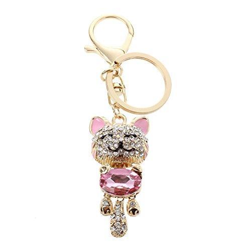 TOOGOO Rhinestone Crystal Porte-cles Charm Pendentif Sac Porte-cles Porte-cles Chaine Rose Cat