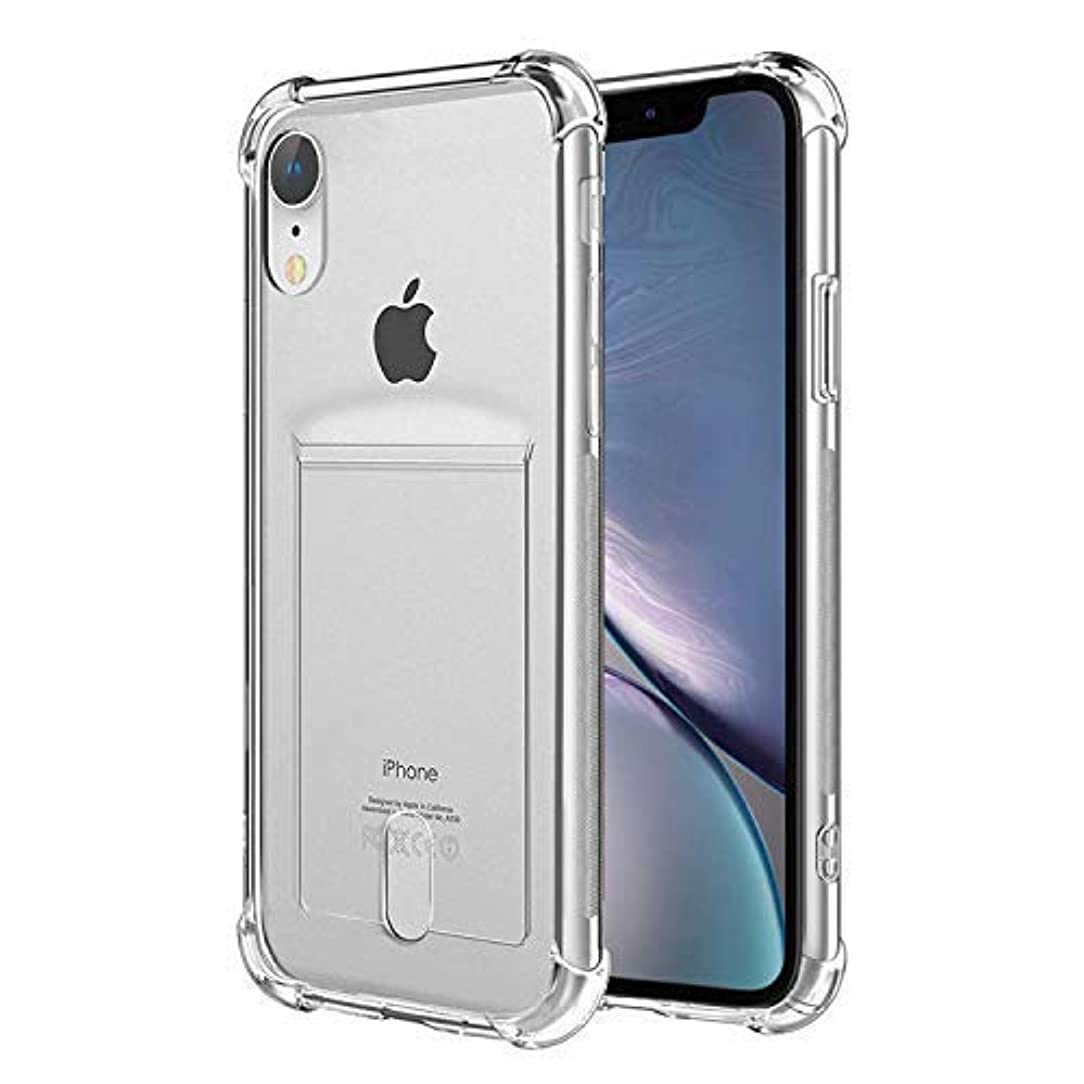 ANHONG iPhone Xr Clear Case with Card Holder, [Slim Fit][Wireless Charger Compatible] Protective Soft TPU Shock-Absorbing Bumper Case with Soft Screen Protector , Compatible iPhone Xr 6.1 Inch