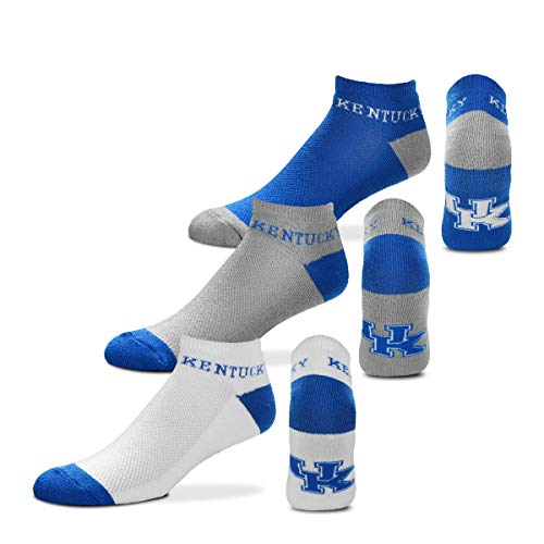 For Bare Feet NCAA Mens 'Money' Ankle Socks-3 Pack-Kentucky Wildcats-Large (10-13)