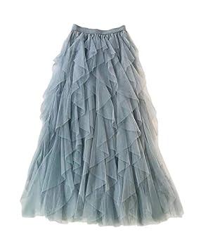 Femiserah Women s Long Rainbow A Line Tulle Tutu Skirts Tiered Skirt Petticoat  Tulle Grey Blue