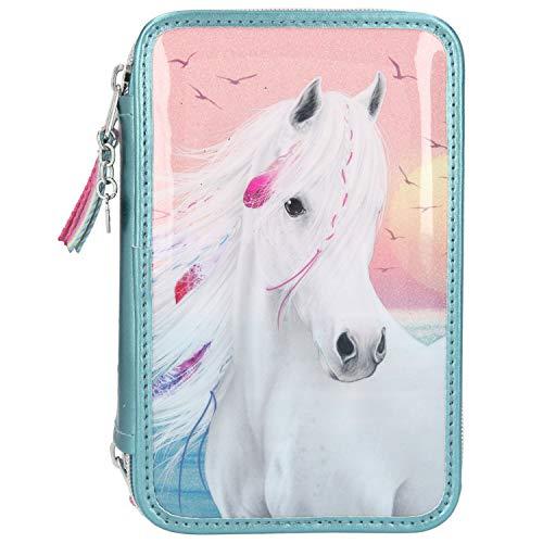 Depesche 11437 Miss Melody – Gevulde 3-voudige etui met prachtig paardenmotief, turquoise etui ca. 7,5 x 13 x 20 cm…