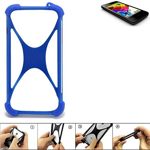 K-S-Trade® Handyhülle Für Mobistel Cynus E4 Silikon Schutz Hülle Cover Case Bumper Silikoncase TPU Softcase Schutzhülle Smartphone Stoßschutz, Blau (1x),