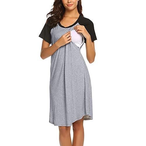 Umstandskleid Stillnachthemd Damen Kurzarm Umstandsnachthemd Schlafanzug Lang Pyjama Nachtwäsche mit Knopfleiste für Schwangere Nachthemden und Stillzeit