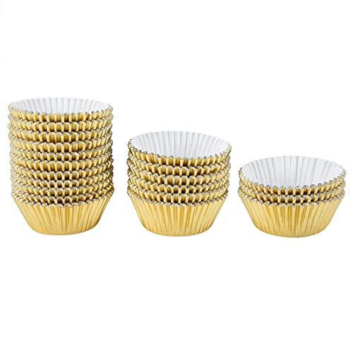 OJPOGHU Revestimiento a Prueba de Aceite 500 unids Taza de Pasteles Desgastados para la decoración para Mostrar (Color : Gold)