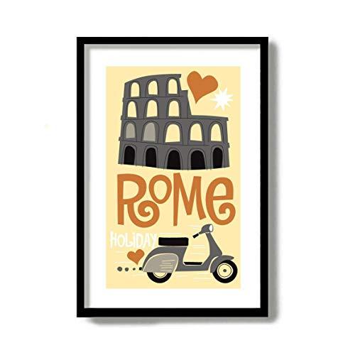 Rome Print Mid Century Modern Wall Art Colosseum Art Italiaanse Decor Vespa Scooter Italiaanse Eten Wijn Fles Reizen Poster Rome Italië