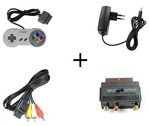 Super Nintendo Set AV Cinch Kabel + Scartadapter + Netzteil + Controller Neu