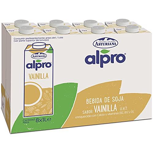 Alpro Central Lechera Asturiana Alpro - Bebida De Soja Con Vainilla, 100% Vegetal, Rica En Proteínas, Apta Para Veganos, Pack De 8 Briks De 1 Litro, 8 Litros 8000 ml