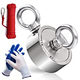 DIYMAG Strong Double Side Neodymium Fishing Magnets,750 lbs(340KG) Pulling Force Rare Earth Magnet with 20m (65 Foot) Durable Rope and Protective Gloves,for Retrieving in River and Magnetic Fish