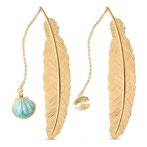 Jiazhenep Bookmarks, 2 Pack Metal Feather Pendant Book Markers Gifts for Women, Kids, Teens Girls, Readers and Book Lovers.(Seashell.Treasure)