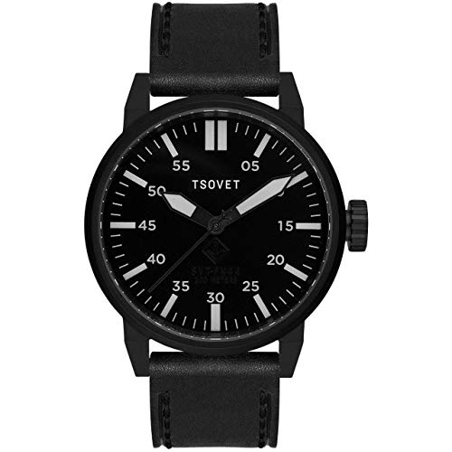Tsovet SVT-FW44 Matte Black Watch - Black Leather