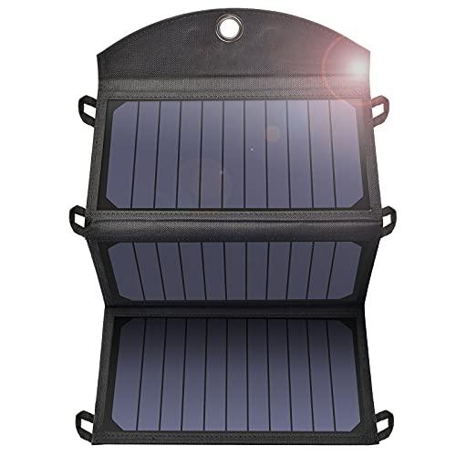 Cargador Solar De 19W Panel Solar Portátil, Plegable Resistente A La Lluvia Cargador Para Exteriores,Con 2 Puertos USB,Compatible Con Smartphones,Tabletas,Cámaras,Carga USB de Viaje Para Acampar