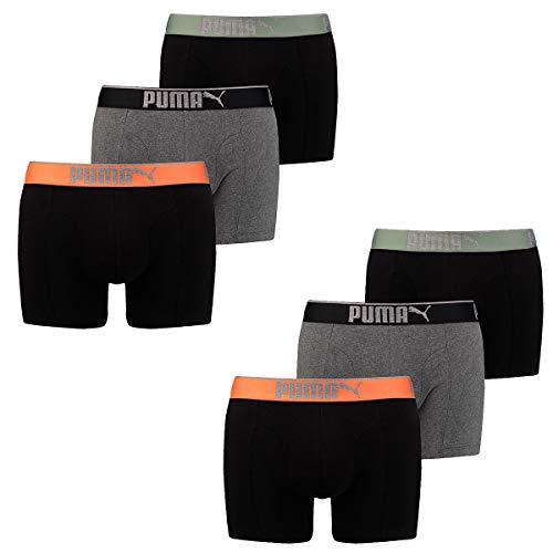 Puma Herren Boxershort Lifestyle Sueded Cotton 6 er Pack, Bekleidungsgröße:L, Farbe:318 - Black/Orange