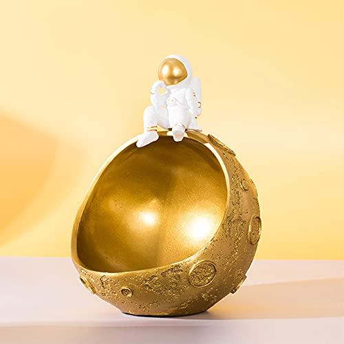 PPuujia Almacenamiento de llaves del norte de Europa creativa astronauta resina Porche clave marco de almacenamiento media luna muebles para el hogar decoraciones de sala de estar (color dorado)