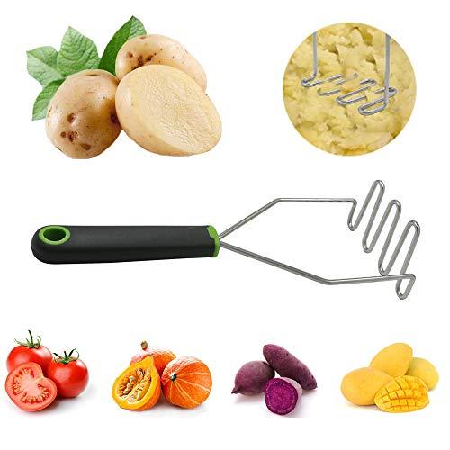 Worldmotop Kartoffelstampfer mit vielseitigem Griff, Edelstahl, antihaftbeschichtet, hitze- und kratzfest grün