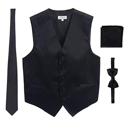 Men's Formal 4pc Satin Vest Necktie Bowtie and Pocket Square, Black, X Large