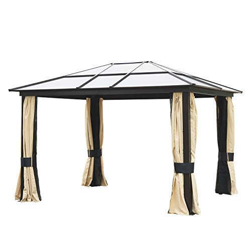 Outsunny 12' x 10' Aluminum Frame and Polycarbonate Hardtop Gazebo Canopy Cover with Mesh Net...