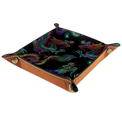 XJJ&USC Embroidery Chinese Dragons Valet Tray with Leatherette Organizer Box for Wallets, Coins, Keys, and Jewelry