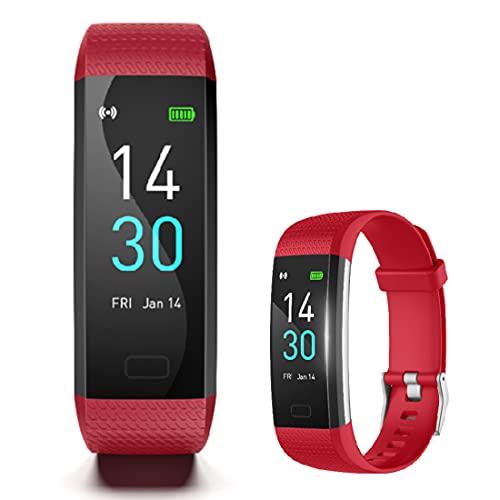 WWANG Rastreador de Fitness con Monitor de Ritmo cardíaco, vigilancia de Actividades de Actividad Impermeable con 16 Modos Deportivos, Monitor de sueño Reloj de Fitness con Llamada de Reloj SMS,Rojo