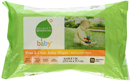 Seventh Generation Baby Wipes, Unscented, Hypo-allergenic, Clear of Dyes, Fragrances, Parabens and Phthalates, Resealable Pack of 64 wipes (Pack of 1)
